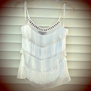 NWT WHBM dressy tank top with fringe size S